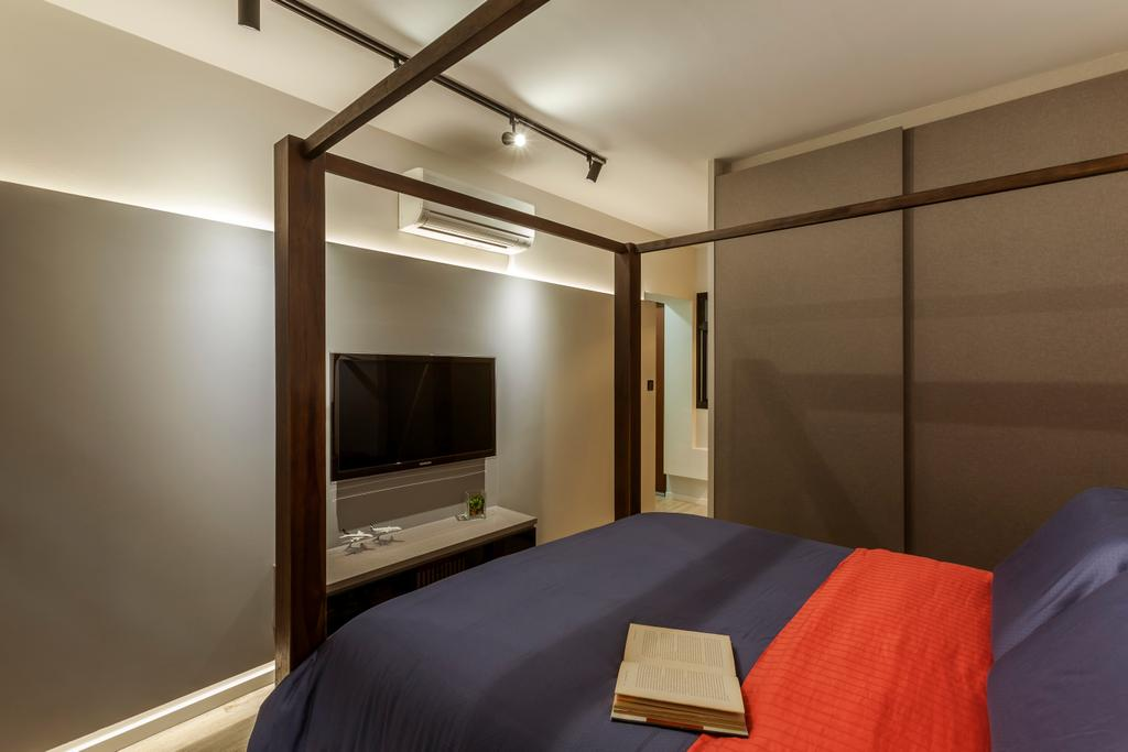 Scandinavian, HDB, Bedroom, Bedok Central (Block 219B), Interior Designer, The Interior Lab, Modern Contemporary Bedroom, King Size Bed, Wooden Wardrobe, Wall Mounted Television, Floating Television Console, Bed, Furniture, Blanket, Home Decor, Building, Housing, Indoors, Loft