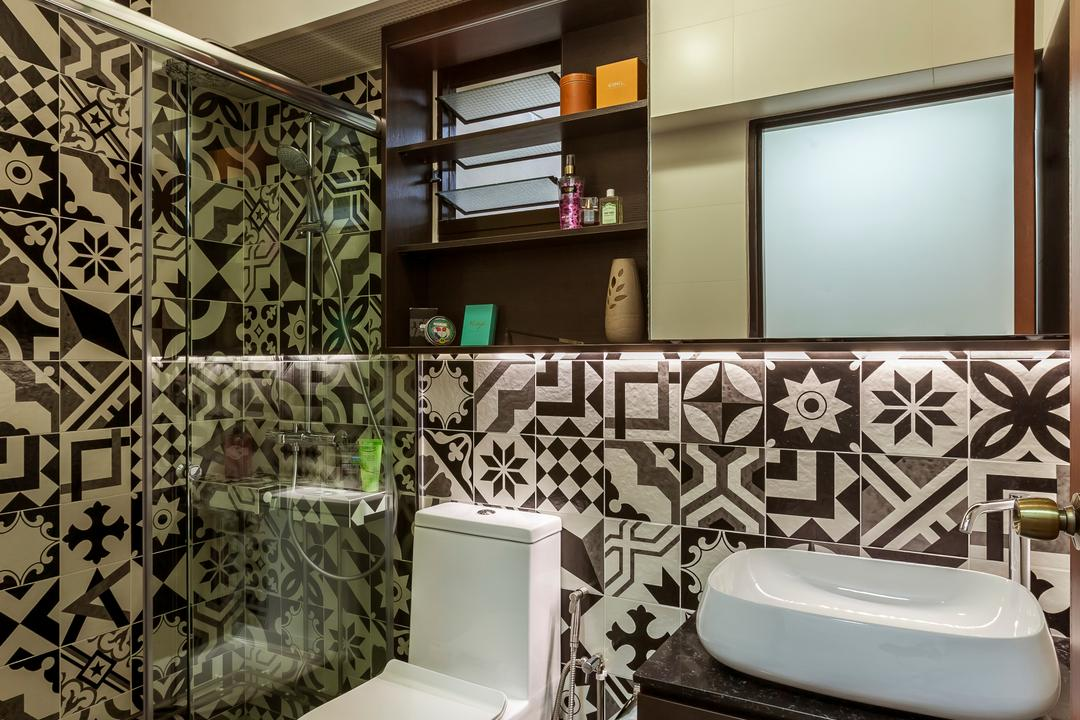 Bedok Central (Block 219B), The Interior Lab, Scandinavian, Bathroom, HDB, Modern Contemporary Bathroom, Ceiling Lights, Hidden Interior Lighting, Wooden Bathroom, Cabinet, Protruding Sink, Mirror, Indoors, Interior Design, Room