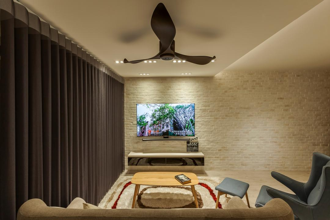 Bedok Central (Block 219B), The Interior Lab, Scandinavian, Living Room, HDB, Modern Contemporary Living Room, Ceiling Fan, Recessed Lights, Sling Curtains, Armseat, Wall Mounted Television, Floating Television Console, Brick Wall, Chair, Furniture