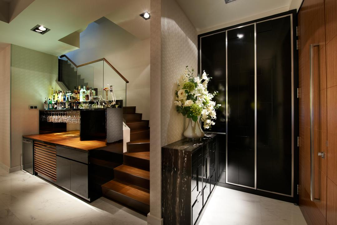 Lorong Stangee, Spire Id, Modern, Landed, Recessed Lights, Wooden Shoe Cabinet, Steps, Wooden Steps, Glass Railing, Potted Plants, Flowers, Dining Room, Indoors, Interior Design, Room, Door, Sliding Door