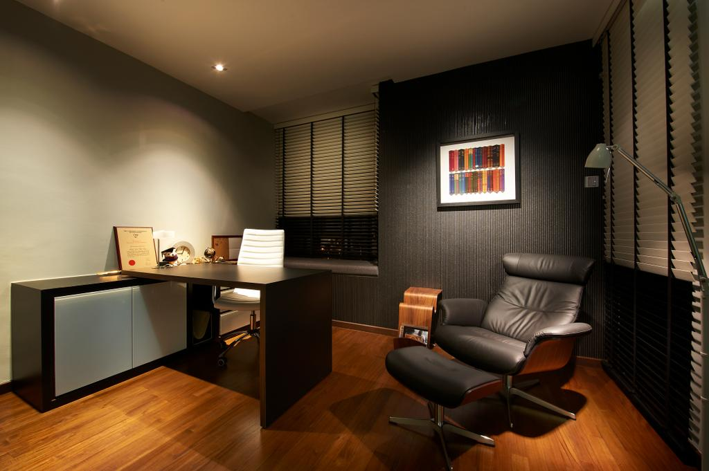 Modern, Landed, Study, Lorong Stangee, Interior Designer, Spire Id, Wall Portrait, Wooden Flooring, Wooden Floor, Brown Floor, Laminated Floor, Black Wall, Grey Wall, Recessed Lights, Blinds, Study Desk, Black, Floor Lamp, Office Chair, Chair, Furniture, Window, Indoors, Room