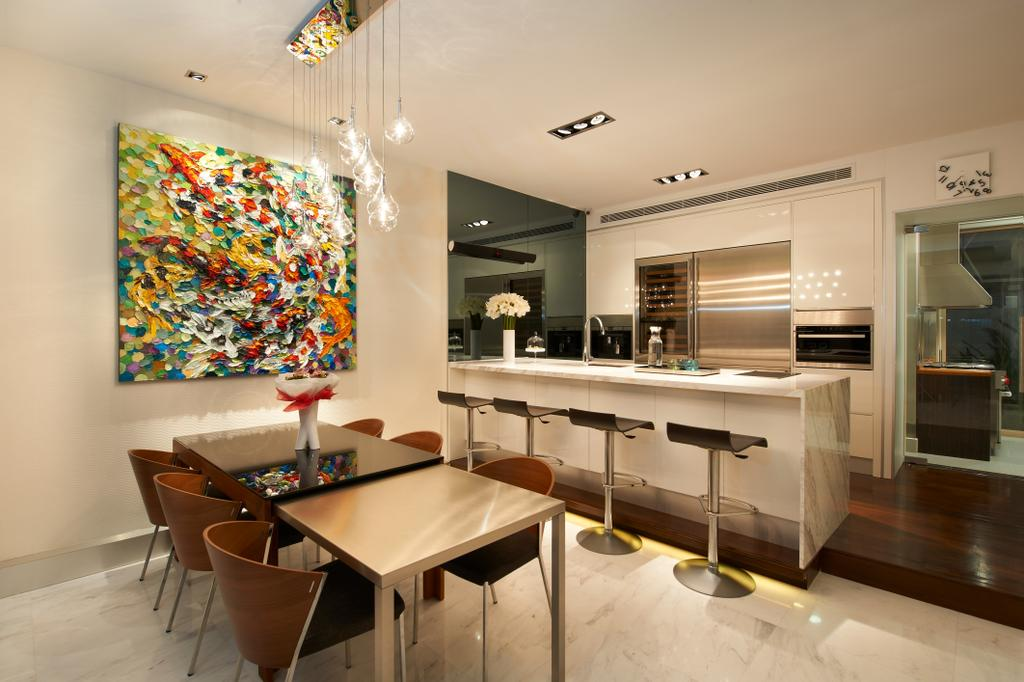 Modern, Landed, Dining Room, Lorong Stangee, Interior Designer, Spire Id, Hanging Lights, Marble Floor, Wallart, Dining Table, Dining Chairs, High Stool, Bar Stools, Tinted Mirror, White Kitchen Counter, Recessed Lights, Indoors, Interior Design, Room, Hardwood, Wood, Furniture, Table