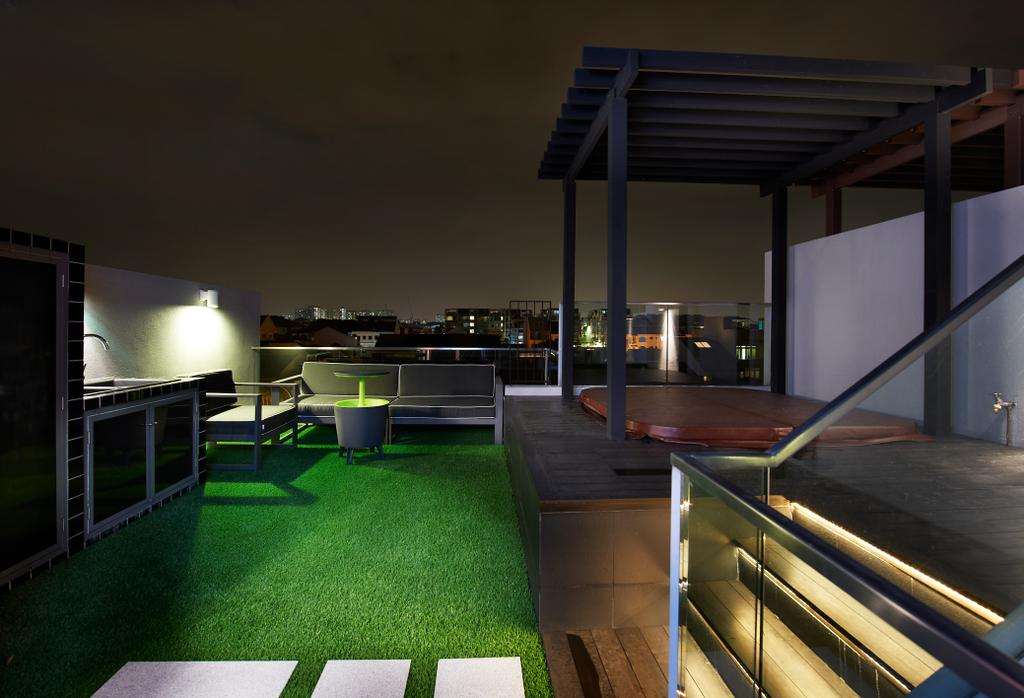 Modern, Landed, Balcony, Lorong Stangee, Interior Designer, Spire Id, Grass Patch, Outdoor Dining Area, Shelter, Steps With Lighting, Lights On Steps, Glass Railing, Bench, Building, House, Housing, Villa