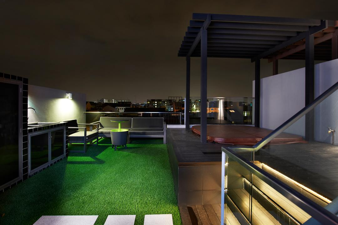 Lorong Stangee, Spire Id, Modern, Balcony, Landed, Grass Patch, Outdoor Dining Area, Shelter, Steps With Lighting, Lights On Steps, Glass Railing, Bench, Building, House, Housing, Villa