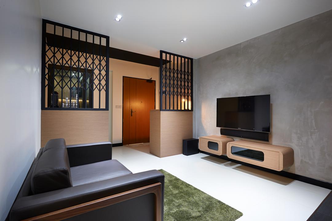 Punggol Field, Spire Id, Minimalistic, Living Room, HDB, Grey Wall, Gray Wall, Flatscreen Tv, Wall Mounted Tv, Wall Tv, Wall Shelf, Brown Shelf, Carpet, Green Carpet, Leather Sofa, Gate Partition Design, Ceiling Lights, Black, Sofa, Indoors, Interior Design, Electronics, Entertainment Center, Home Theater