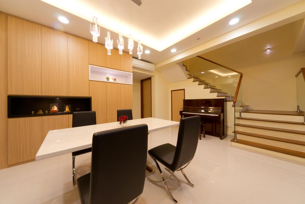 Modern, Landed, Dining Room, Eastwood Road, Interior Designer, D Initial Concept, Chair, Furniture, Conference Room, Indoors, Meeting Room, Room, Basement, Dining Table, Table