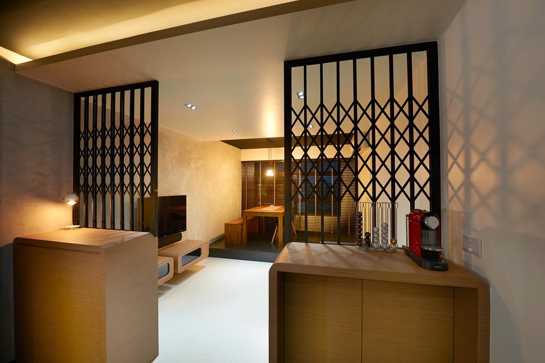 Punggol Field, Spire Id, Minimalistic, Living Room, HDB, Gate Partition Design, Black Gate Design, Concealed Lighting, False Ceiling, Wooden Cabinet, Brown Cabinet, Box