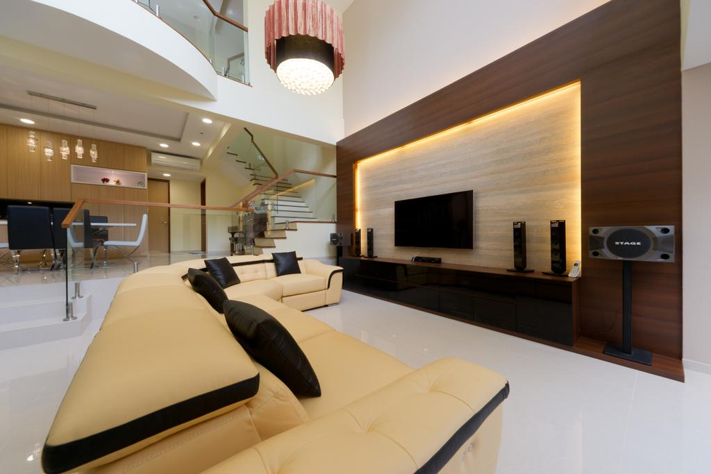 Modern, Landed, Living Room, Eastwood Road, Interior Designer, D Initial Concept, Indoors, Interior Design, HDB, Building, Housing, Loft, Banister, Handrail, Staircase, Electronics, Entertainment Center, Home Theater