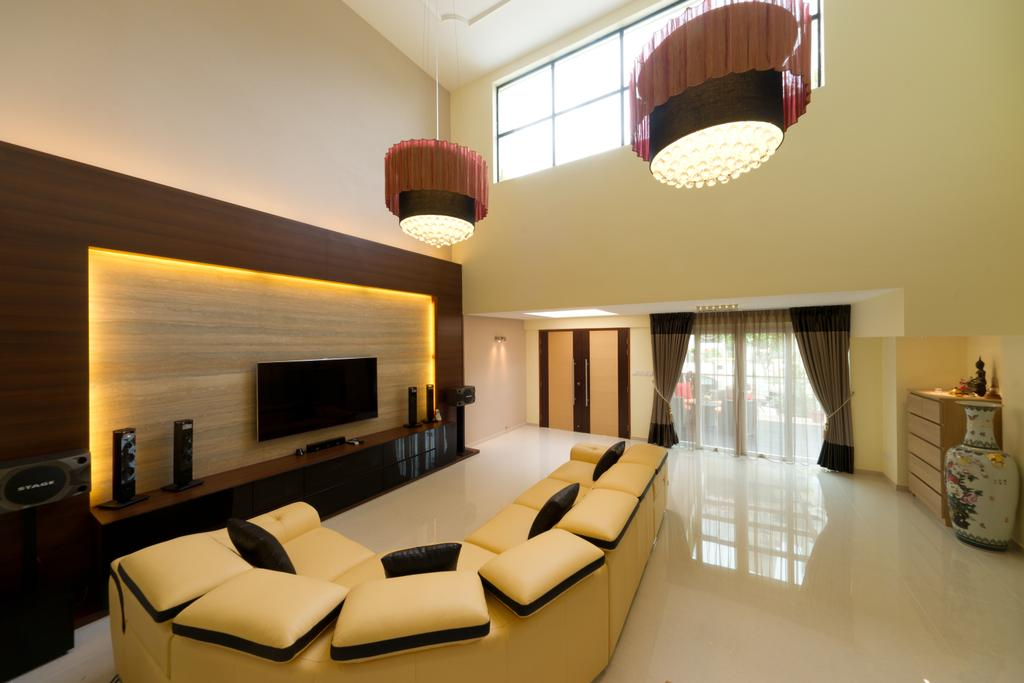 Modern, Landed, Living Room, Eastwood Road, Interior Designer, D Initial Concept, Light Fixture, Electronics, Entertainment Center, Home Theater, Indoors, Room, Lamp, Lampshade