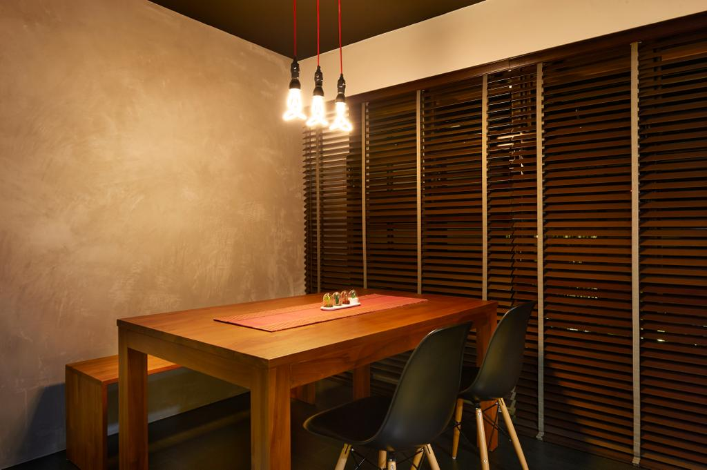 Minimalistic, HDB, Dining Room, Punggol Field, Interior Designer, Spire Id, Concrete Wall, Industrial Wall, Hanging Light, Lighting Bulbs, Wooden Table, Wooden Chairs, Black Chairs, Blinds, Venetian Blinds, Wooden Bench, Chair, Furniture, Indoors, Interior Design, Room, Dining Table, Table