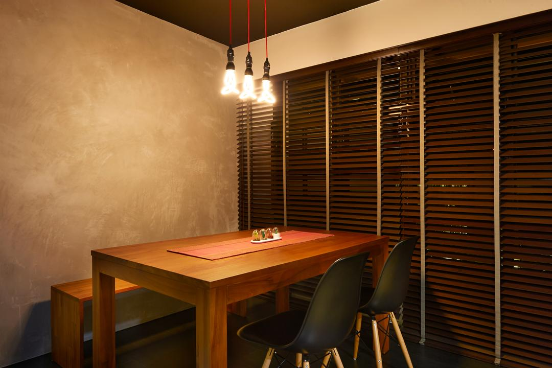 Punggol Field, Spire Id, Minimalistic, Dining Room, HDB, Concrete Wall, Industrial Wall, Hanging Light, Lighting Bulbs, Wooden Table, Wooden Chairs, Black Chairs, Blinds, Venetian Blinds, Wooden Bench, Chair, Furniture, Indoors, Interior Design, Room, Dining Table, Table