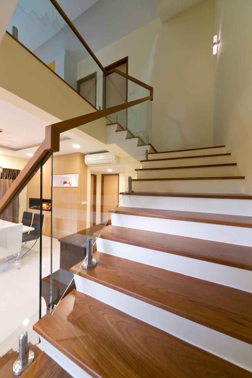 Modern, Landed, Eastwood Road, Interior Designer, D Initial Concept, Dining Table, Furniture, Table, Chair, HDB, Building, Housing, Indoors, Loft, Banister, Handrail, Staircase, Coffee Table