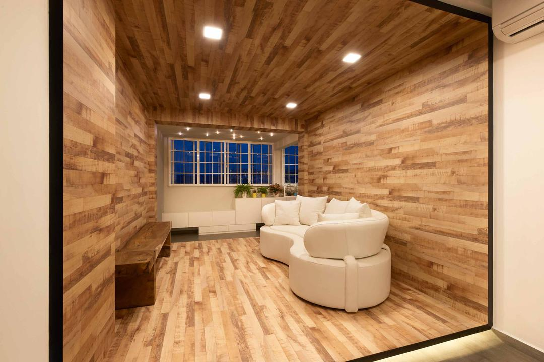 Woodlands Avenue, Spire Id, Modern, HDB, Recessed Lighting, Recessed Lights, Wooden Walls, Wooden Flooring, Laminated Flooring, Laminated Wall, White Sofa, Wooden Table, Wall Mount Table