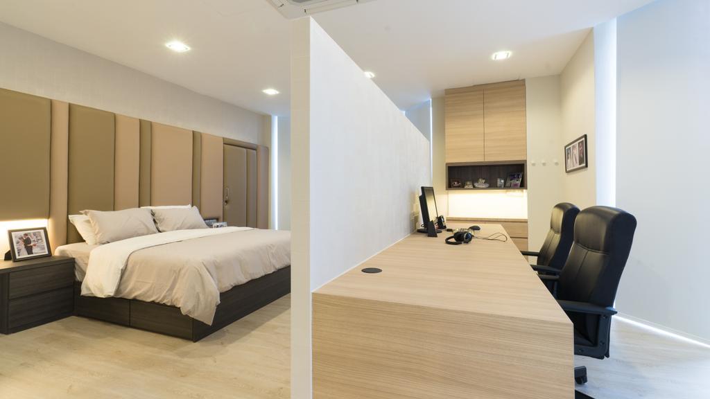 Modern, Landed, Bedroom, Sennett Terrace, Interior Designer, D Initial Concept, Contemporary, Chair, Furniture, Bed, Indoors, Room, Flooring
