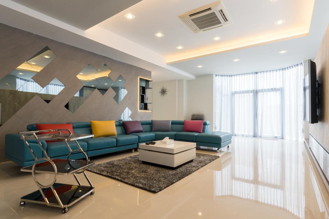 Sennett Terrace, D Initial Concept, Modern, Contemporary, Living Room, Landed, Chair, Furniture, Air Conditioner