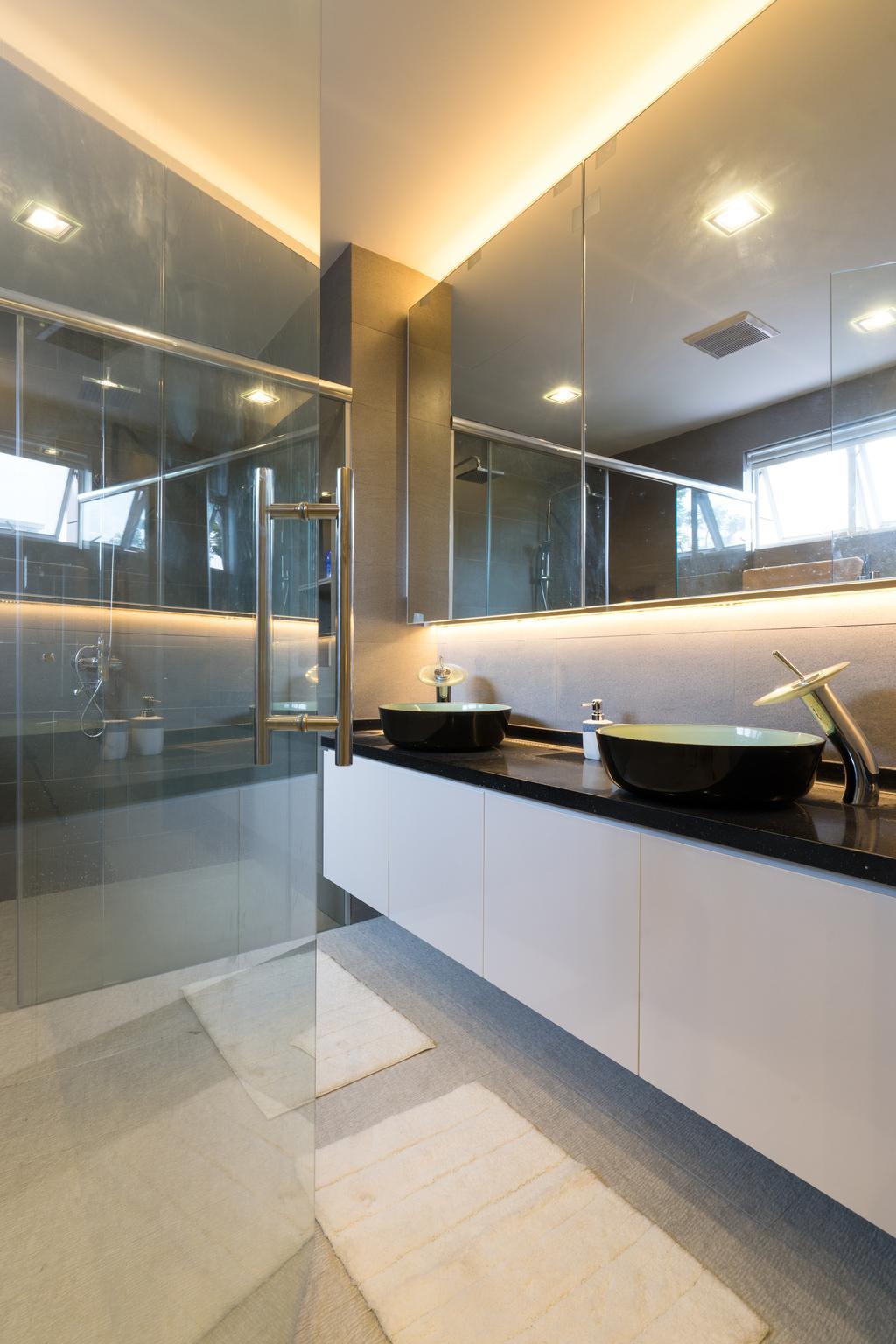 Modern, Landed, Bathroom, Sennett Terrace, Interior Designer, D Initial Concept, Contemporary, Bathtub, Tub, Window