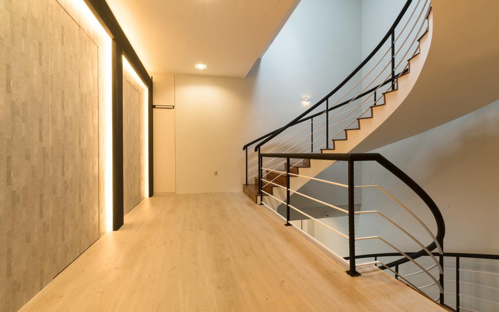 Modern, Landed, Sennett Terrace, Interior Designer, D Initial Concept, Contemporary, Banister, Handrail, Staircase