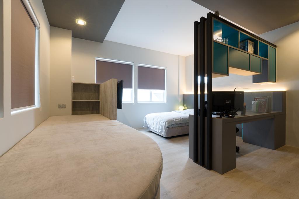 Modern, Landed, Bedroom, Sennett Terrace, Interior Designer, D Initial Concept, Contemporary, Bed, Furniture, Lighting, Corridor