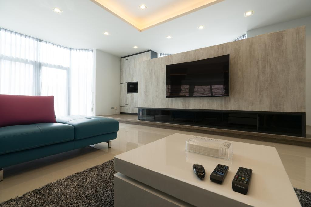 Modern, Landed, Living Room, Sennett Terrace, Interior Designer, D Initial Concept, Contemporary, Couch, Furniture, Indoors, Interior Design, Fireplace, Hearth, Room