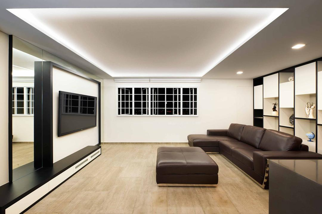 Woodlands Avenue, Spire Id, Modern, Living Room, HDB, Black White Theme, Monochrome Design, False Ceiling, Concealed Lighting, Concealed Lights, Recessed Lighting, Recessed Lights, Wooden Flooring, Brown Flooring, Laminated Wood, Laminated Flooring, Leather Sofa, Brown Sofa, Open Shelf, Flatscreen Tv, Monochrome Feature Wall, Couch, Furniture, Indoors, Interior Design