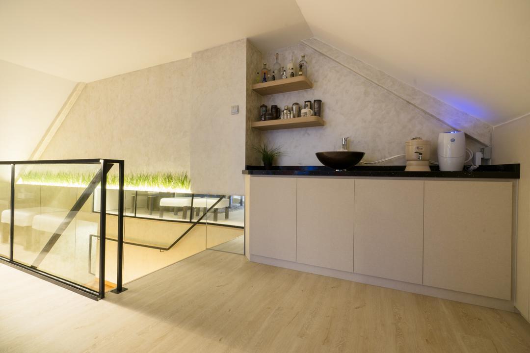 Sennett Terrace, D Initial Concept, Modern, Contemporary, Kitchen, Landed, Banister, Handrail, HDB, Attic, Building, Housing, Indoors, Loft, Flooring