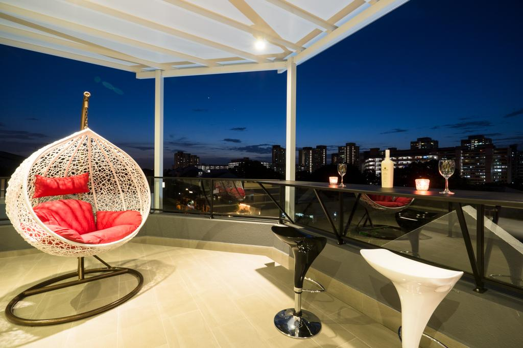 Modern, Landed, Balcony, Sennett Terrace, Interior Designer, D Initial Concept, Contemporary, Chair, Furniture, Glass, Goblet, Canopy