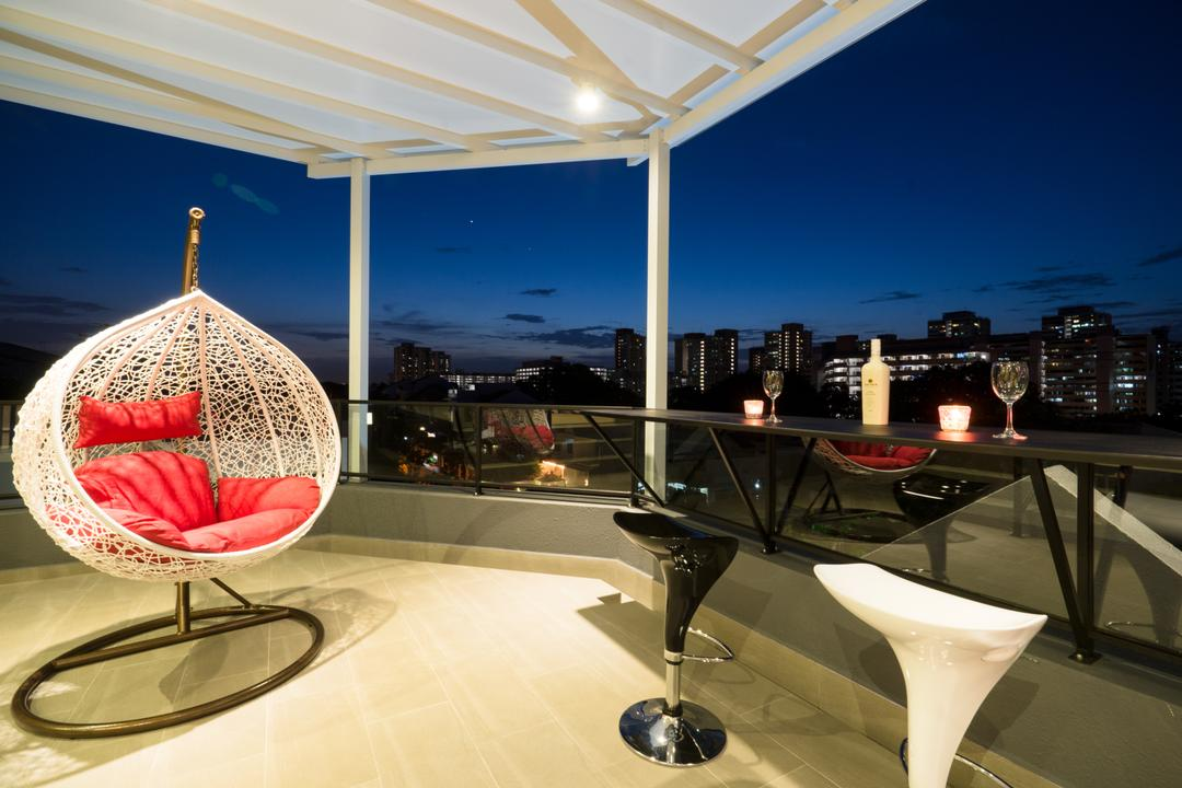 Sennett Terrace, D Initial Concept, Modern, Contemporary, Balcony, Landed, Chair, Furniture, Glass, Goblet, Canopy
