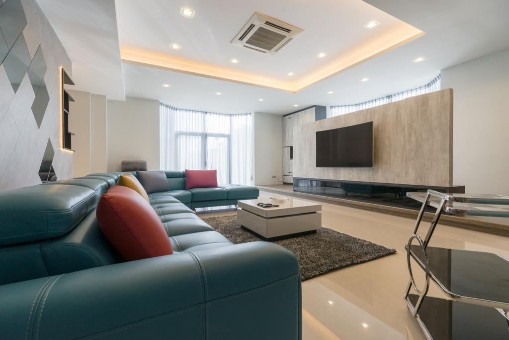 Modern, Landed, Living Room, Sennett Terrace, Interior Designer, D Initial Concept, Contemporary, Couch, Furniture, Electronics, Entertainment Center, Home Theater, Chair
