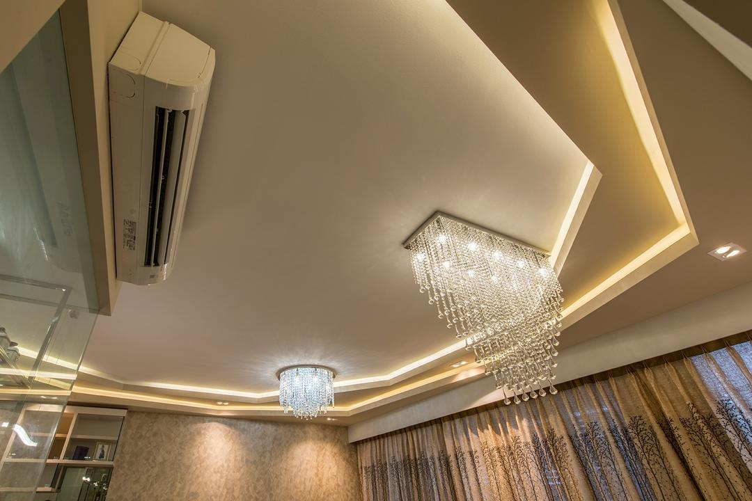 Hillview Avenue (Lanai), Ace Space Design, Modern, Living Room, Condo, Chandelier, False Ceiling, Concealed Lighting, Concealed Lights, Air Con, Curtains