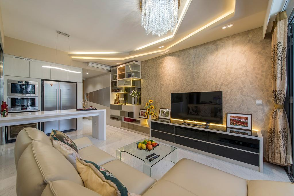 Modern, Condo, Living Room, Hillview Avenue (Lanai), Interior Designer, Ace Space Design, Chandelier, False Ceiling, Concealed Lighting, Concealed Lights, Leather Sofa, Sofa, Ghost Chair, Curtains, Tv Console, Flatscreen Tv, Indoors, Interior Design