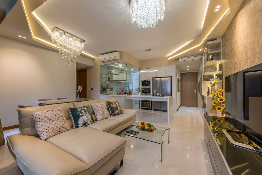 Modern, Condo, Living Room, Hillview Avenue (Lanai), Interior Designer, Ace Space Design, Chandelier, False Ceiling, Concealed Lighting, Concealed Lights, Flatscreen Tv, Ghost Chair, Sofa, L Shaped Sofa, Leather Sofa, Couch, Furniture, Indoors, Interior Design, Kitchen, Room, Banister, Handrail