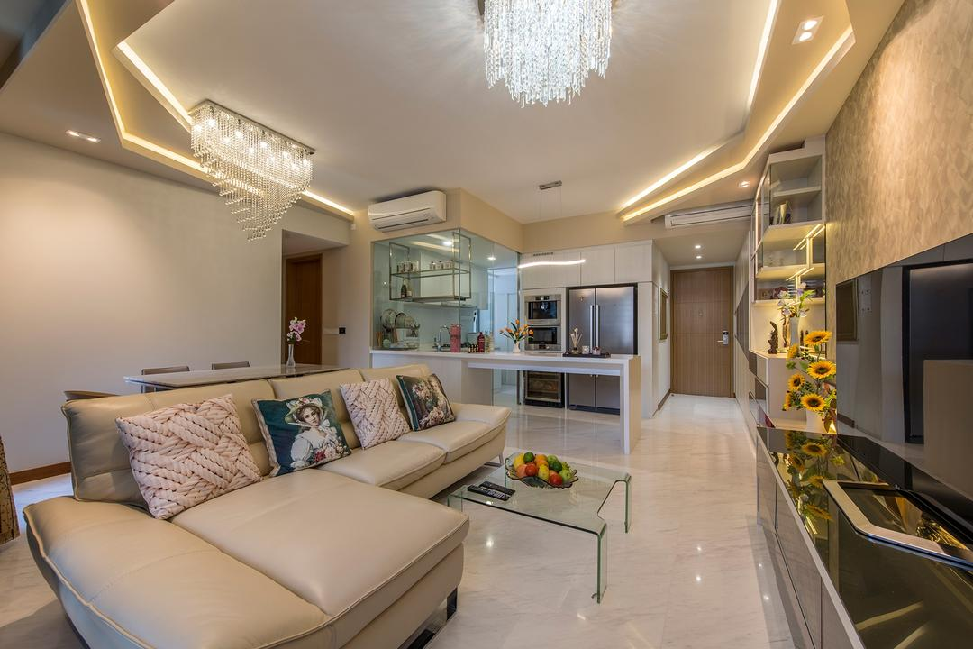 Hillview Avenue (Lanai), Ace Space Design, Modern, Living Room, Condo, Chandelier, False Ceiling, Concealed Lighting, Concealed Lights, Flatscreen Tv, Ghost Chair, Sofa, L Shaped Sofa, Leather Sofa, Couch, Furniture, Indoors, Interior Design, Kitchen, Room, Banister, Handrail