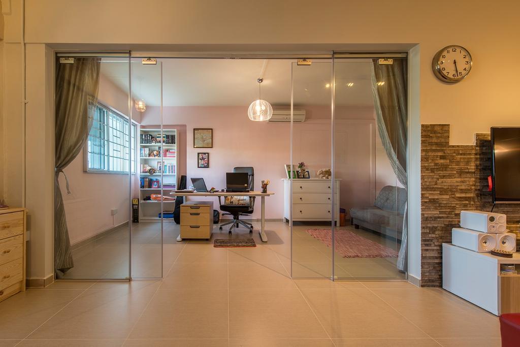 Contemporary, HDB, Living Room, Bedok Reservoir, Interior Designer, Ace Space Design, Glass Doors, Glass Dividers, Curtains, Brick Wall, Sliding Door, Flooring