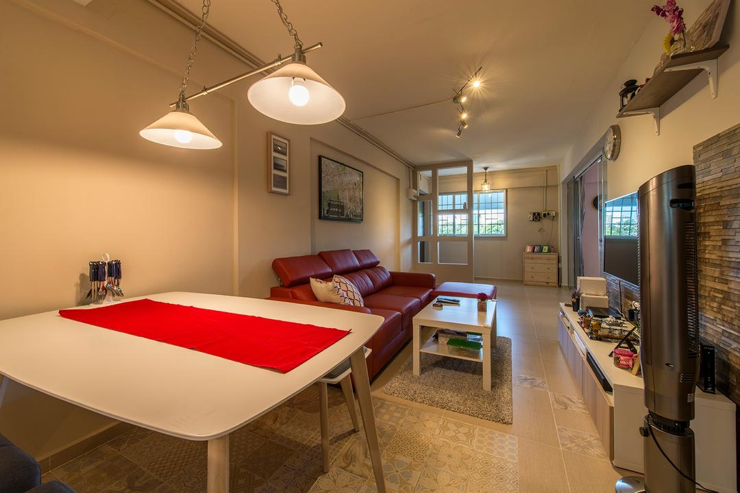 Bedok Reservoir, Ace Space Design, Contemporary, Dining Room, HDB, Pendant Lighting, Pendant Lights, Tiled Pattern, Tiled Flooring, Red Mat, Red Table Mat, Table Mat, Chair, Furniture, Indoors, Room, Interior Design