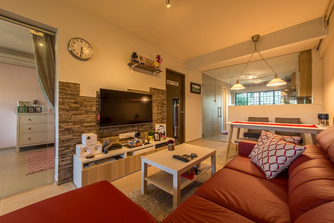 Bedok Reservoir, Ace Space Design, Contemporary, Living Room, HDB, Red Sofa, Sofa, L Shaped Sofa, Cushions, White, Coffee Table, Pendant Lighting, Pendant Lights, Brick Wall, Flatscreen Tv, Glass Doors, Glass Dividers, Tv Shelf, Appliance, Electrical Device, Oven, Indoors, Room