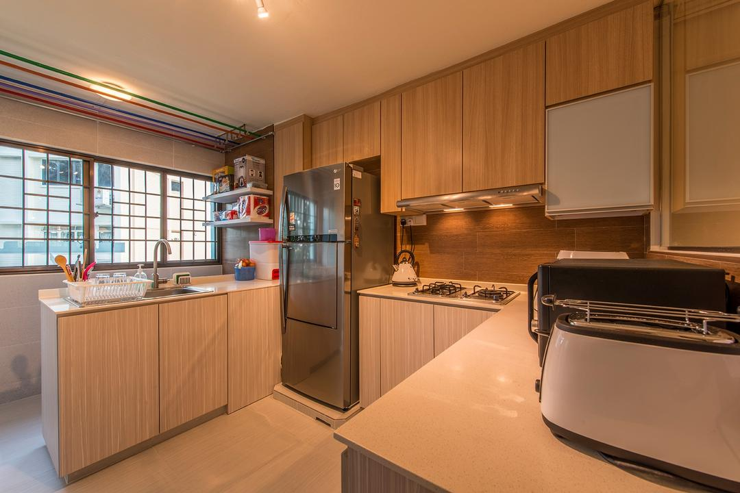 Bedok Reservoir, Ace Space Design, Contemporary, Kitchen, HDB, Wooden Cabinets, Wooden, Cabinets, White Kitchen Counter Top, White, Kitchen Counter Top, Appliance, Electrical Device, Fridge, Refrigerator