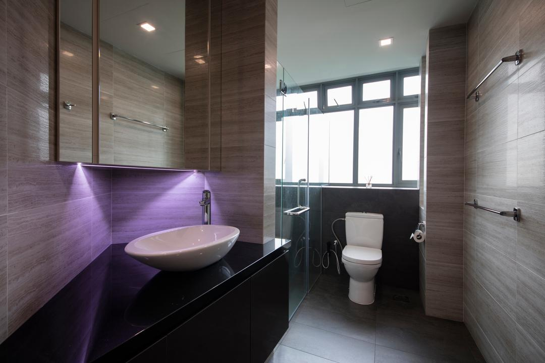 Adam Park, Metamorph Design, Minimalistic, Modern, Bathroom, Condo, Modern Contemporary Bathroom, Black Sink Countertop, Protruding Sink, Recessed Lights, Wooden Wall, Ceramic Tiles, Glass Panelled Shower, Toilet, Indoors, Interior Design, Room