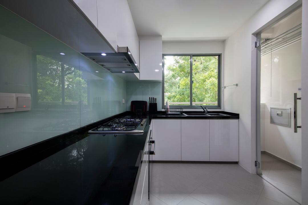 Adam Park, Metamorph Design, Minimalistic, Modern, Kitchen, Condo, Modern Contemporary Kitchen, White Kitchen Cabinet, White Kitchen Cupboard, Black Laminated Top