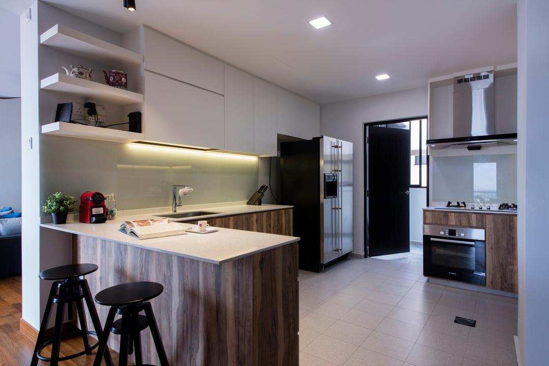 Chuan Park, Forefront Interior, Traditional, Kitchen, Condo, Modern Contemporary Kitchen, Recessed Lights, Wooden Kitchen Counter, White Laminated Top, White Kitchen Cabinet, White Kitchen Cupboard, Bar Stool, Furniture, Appliance, Electrical Device, Oven, Indoors, Interior Design, Plywood, Wood, Room