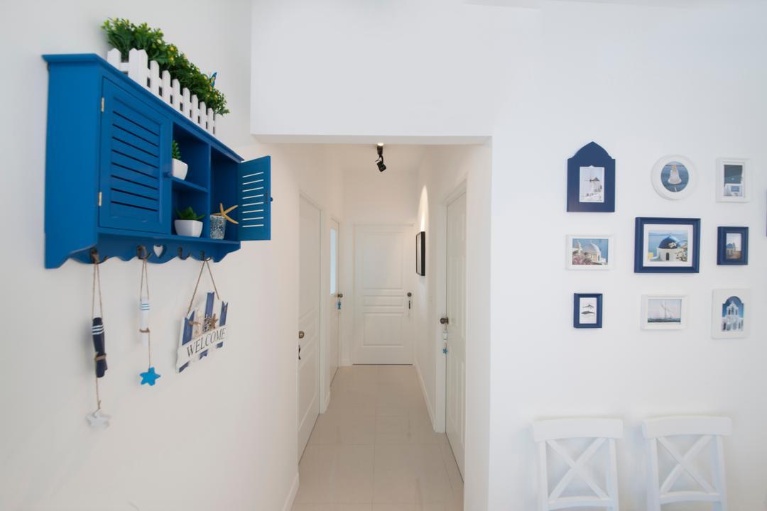 Yishun Avenue 1, Edge Interior, Contemporary, Living Room, HDB, Wall Portrait, White Walls, White Wall, Wall Decor, Wall Shelf, Blue Shelf, Potted Plant, Hanging Decor, Curtain, Home Decor, Shutter, Window, Window Shade, Balcony