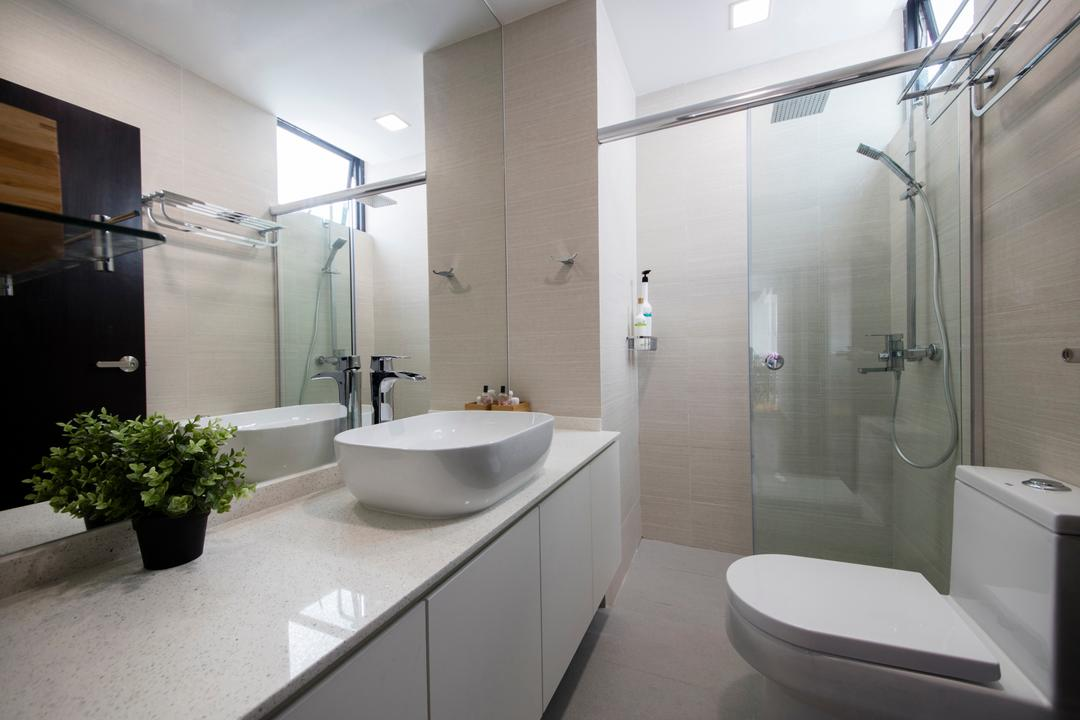 Chuan Park, Forefront Interior, Traditional, Bathroom, Condo, Modern Contemporary Bathroom, Glass Panelled Shower, White Sink Countertop, White Bathroom Cabinet, Protruding Sink, Flora, Jar, Plant, Potted Plant, Pottery, Vase, Indoors, Interior Design, Room, Shower