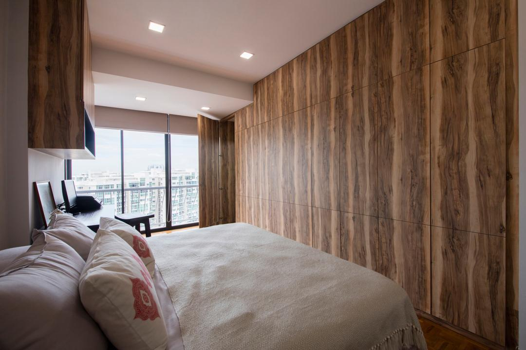 Chuan Park, Forefront Interior, Traditional, Bedroom, Condo, Modern Contemporary Bedroom, King Size Bed, Cozy, Cosy, Wooden Wall, Wooden Floor, Recessed Lights, Sling Curtain, Bed, Furniture, Indoors, Interior Design, Room