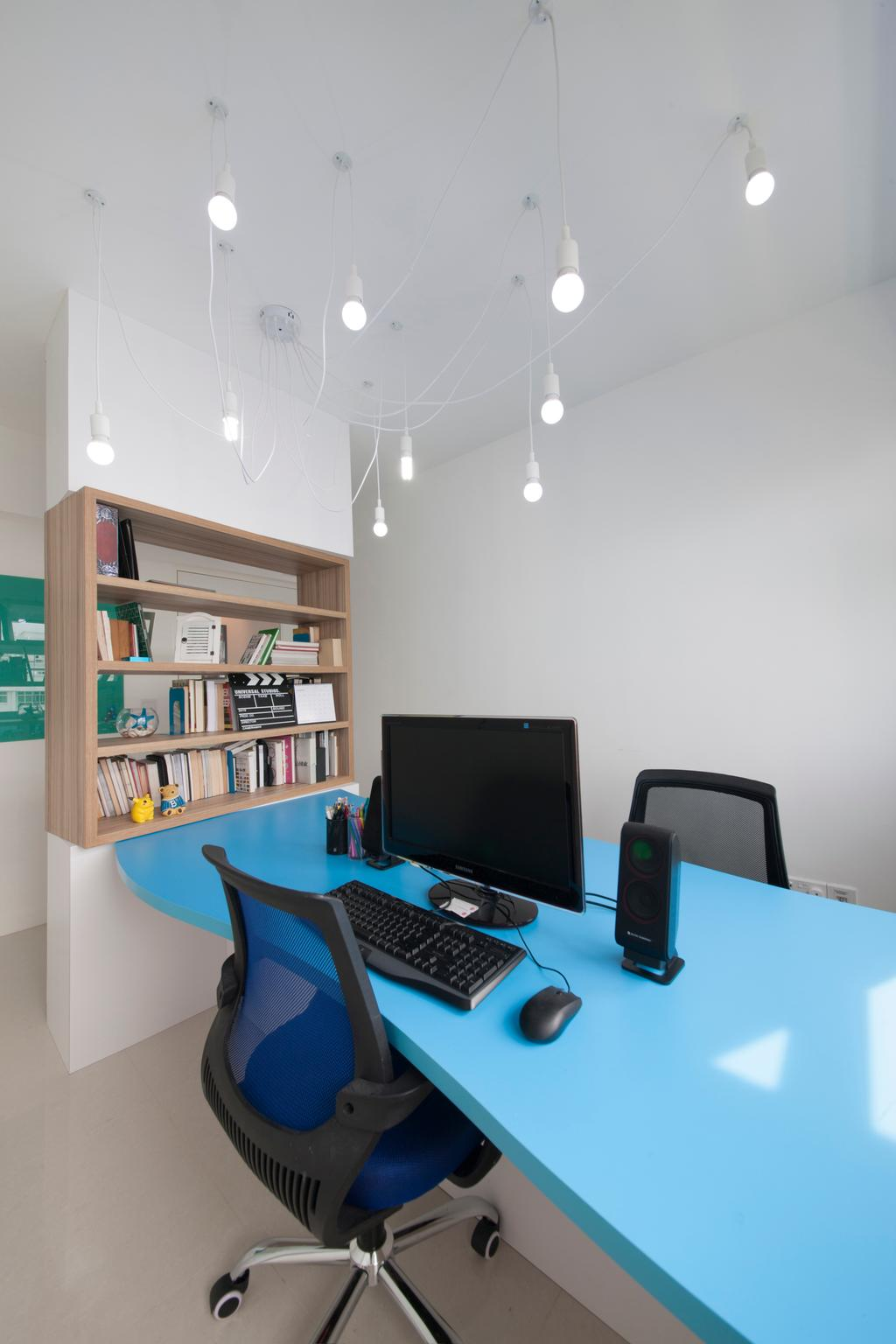Contemporary, HDB, Study, Yishun Avenue 1, Interior Designer, Edge Interior, Hanging Lights, Hanging Light Bulbs, Blue Table, Black Chair, Office Chair, Wall Shelf, Wooden Shelf, Open Shelf, Bookshelf, White Wall, White Ceiling, Bookcase, Furniture, Desk, Table, Shelf