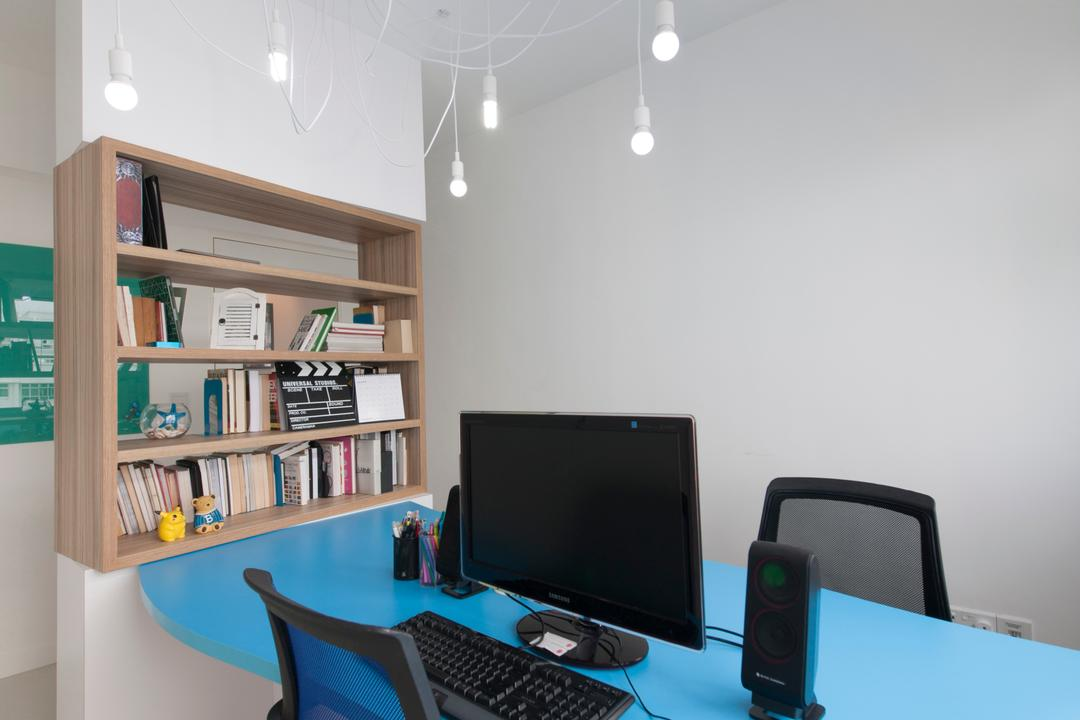 Yishun Avenue 1, Edge Interior, Contemporary, Study, HDB, Hanging Lights, Hanging Light Bulbs, Blue Table, Black Chair, Office Chair, Wall Shelf, Wooden Shelf, Open Shelf, Bookshelf, White Wall, White Ceiling, Bookcase, Furniture, Desk, Table, Shelf