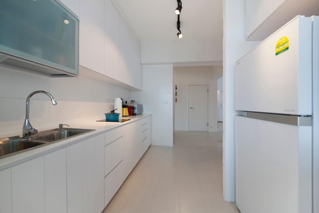 Contemporary, HDB, Kitchen, Yishun Avenue 1, Interior Designer, Edge Interior, Black Trackie, Track Lights, White Refrigerator, White Cabinets, White Drawers, Appliance, Electrical Device, Fridge, Refrigerator