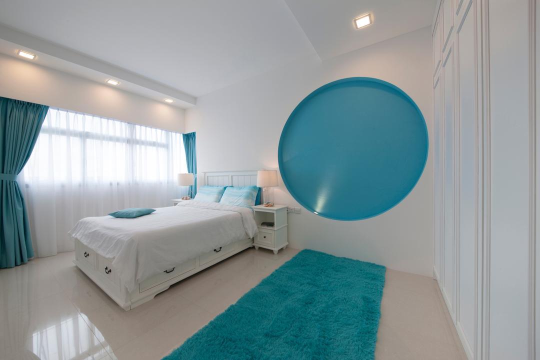 Yishun Avenue 1, Edge Interior, Contemporary, Bedroom, HDB, Recessed Lights, Blue Carpet, Furry Carpet, Blue, Blue Wall, White Ceiling, White Curtains, Double Layered Curtains, Blue Curtains, Bed, Furniture, Indoors, Interior Design