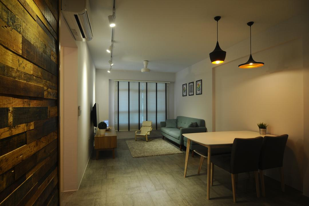 Fernvale Link (Block 440B), Superhome Design, Industrial, Living Room, HDB, Pendant Lights, Brick Wall, Brown, Track Lights, Trackie, White, White Track Lights, White Wall, Dining Table, Concrete Floor, Modern Contemporary Living Room, Chair, Furniture, Table
