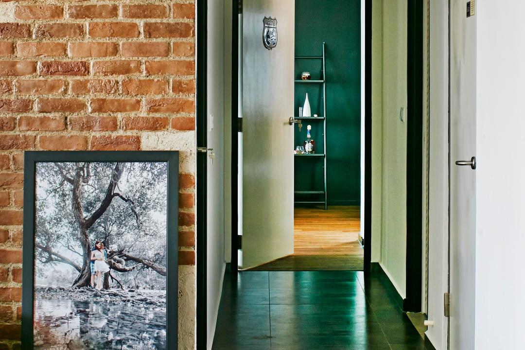 Fernvale Link, Fuse Concept, Industrial, HDB, Wall Clock, Square Tiles, Portrait, Brick Wall, Brown Brick Wall, Brick