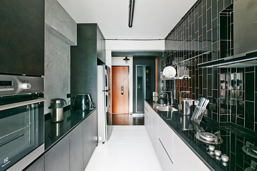Fernvale Link, Fuse Concept, Industrial, Kitchen, HDB, White Ceiling, White Flooring, White Cabinets, Monochrome Style, Monochrome Palette, Tiled Design, Appliance, Electrical Device, Oven, Sink, Door, Sliding Door