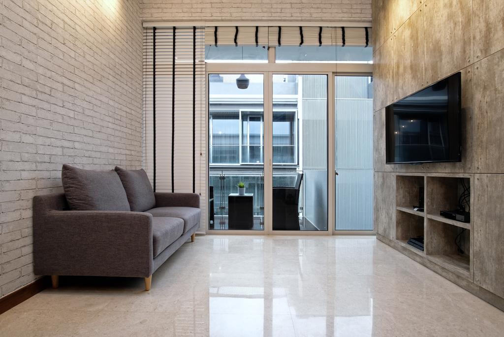 Transitional, Condo, Living Room, Greenwich Condo, Interior Designer, DreamVision Designer, Modern Contemporary Living Room, Marble Floor, Brick Walls, Wall Mounted Television,